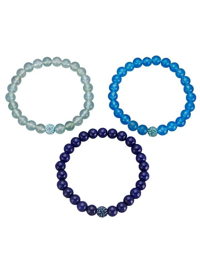 3tlg. Armband-Set, Blau