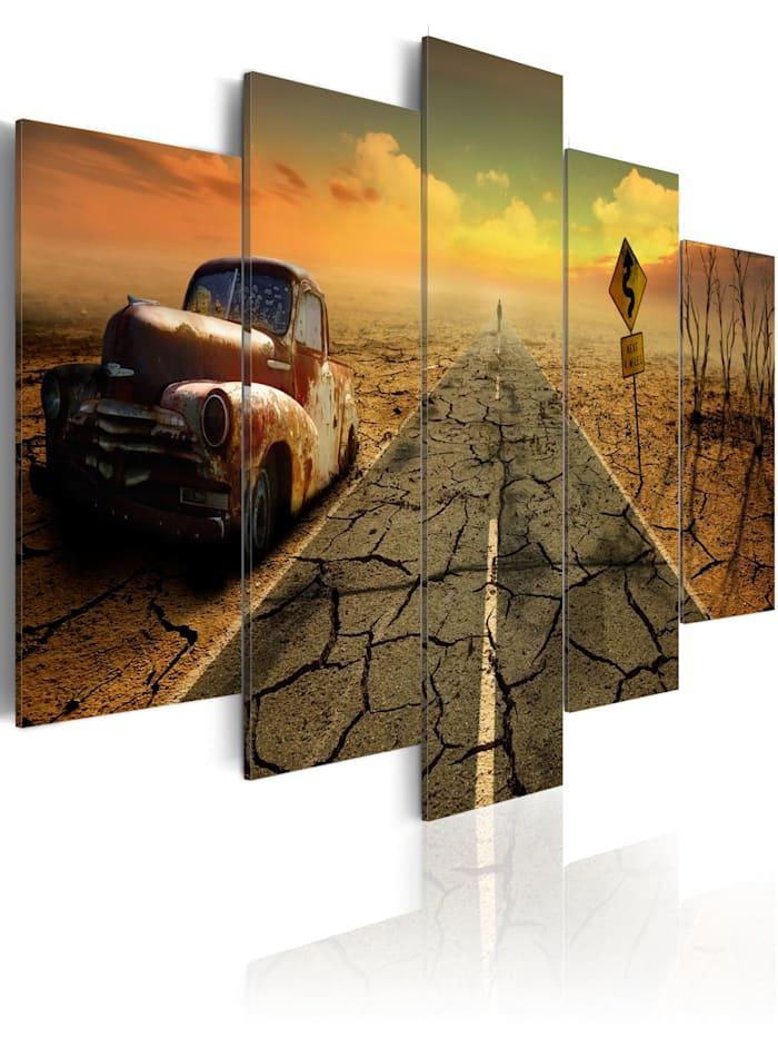 artgeist Wandbild Difficult road, Gelb,Weiß,Braun,Grau,Orange