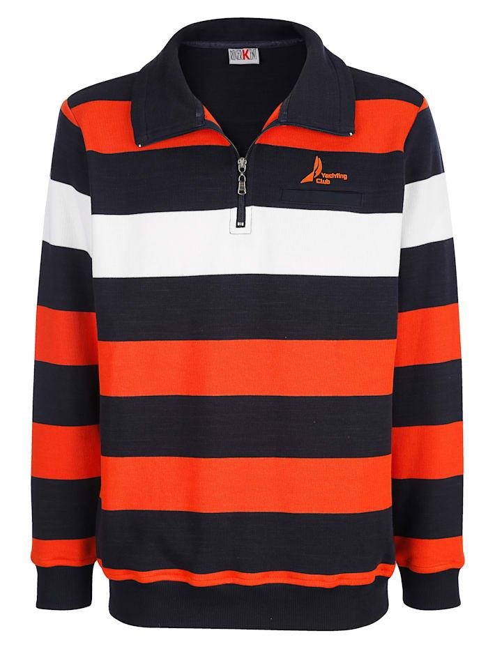Roger Kent Sweatshirt mit Streifenmuster, Marineblau/Orange