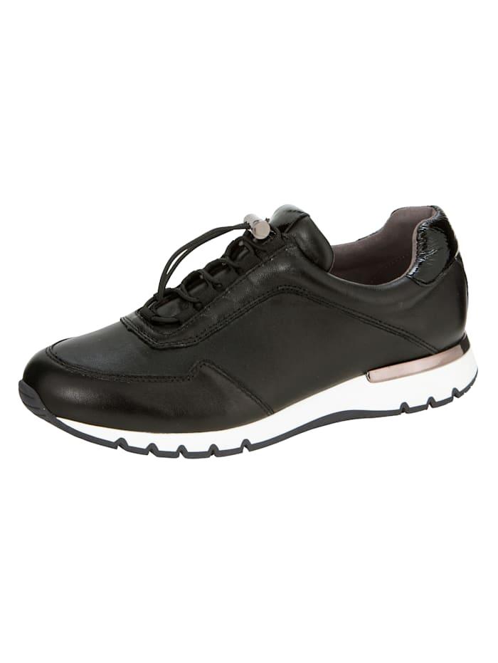 Caprice Sneakers dans une belle association de différents types de cuir, Noir