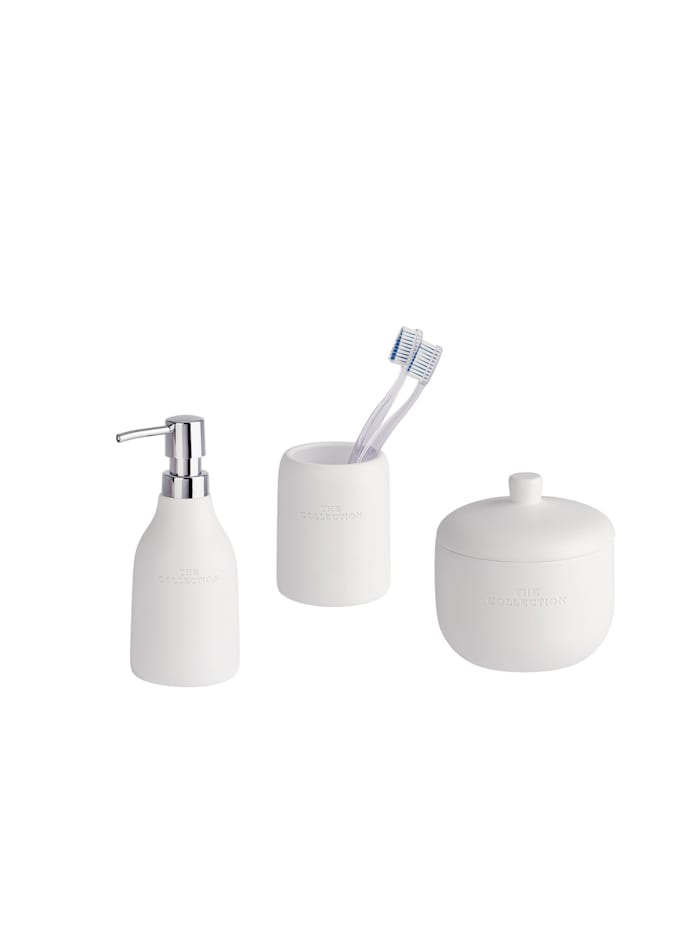 Wenko Bad-Accessoires Set The Collection White 3-teilig, Zahnputzbecher, Seifenspender & Universaldose, Weiß