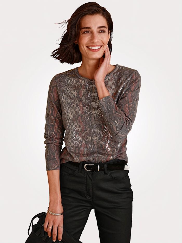 MONA Pullover mit Animal Print, Grau/Rosé/Silberfarben