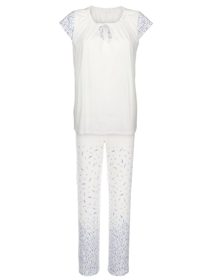 Simone Pyjama, valkoinen/syreeni/vaaleasininen