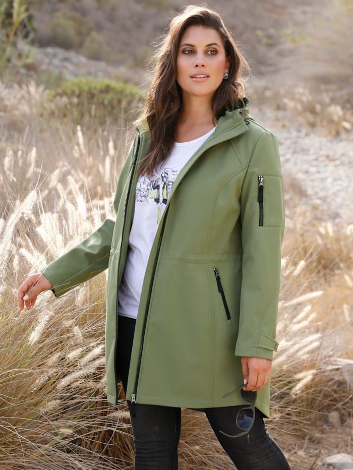 MIAMODA Softshell jas met praktische capuchon, Kaki/Zwart