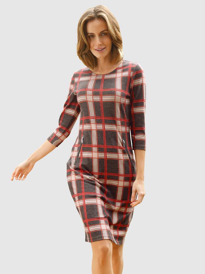 Paola Jersey jurk met modieus ruitdessin, Donkerbruin/Steenrood