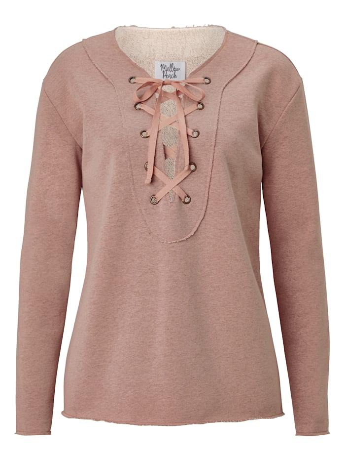 Mellow Peach Sweatshirt mit Lacing und Lurex, Rosé