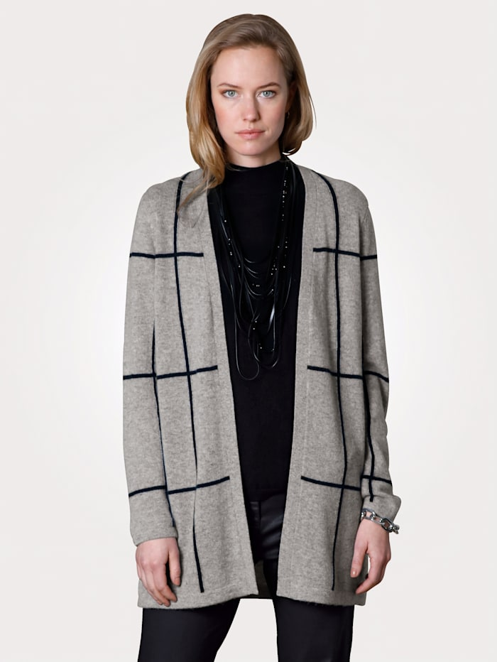 MONA Long-Strickjacke aus reinem Kaschmir, Grau