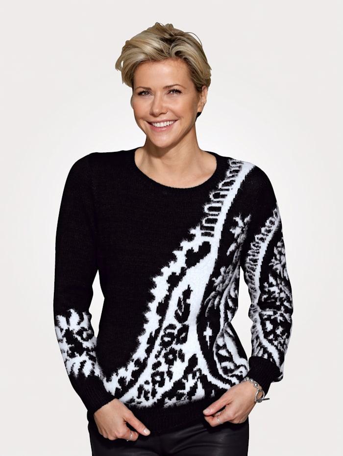 MONA Pullover aus haarigem Garn, Schwarz/Natur