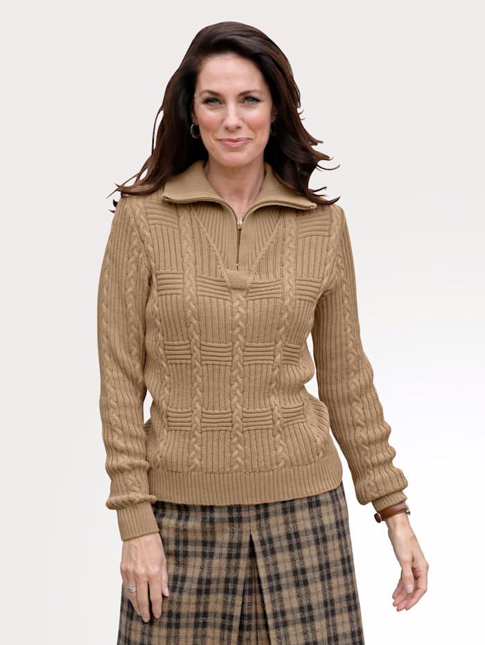 MONA Pullover mit Troyerkragen, Hellbraun