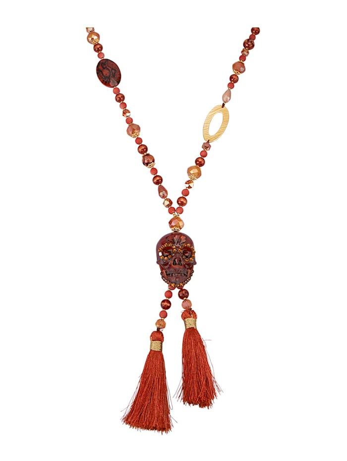 KLiNGEL Halskette aus Glasperlen, Rot