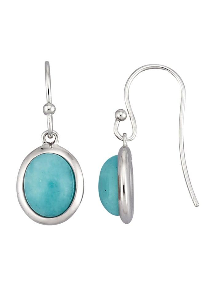 Ohrringe mit Amazoniten, Silberfarben