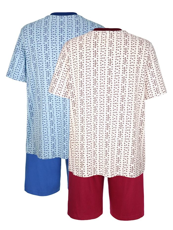 Roger Kent Pyjashorts, Bordeaux/Bleu ciel