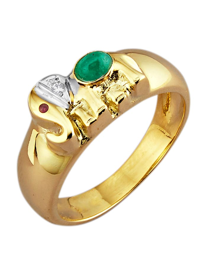 Diemer Farbstein Elefanten-Ring in Gelbgold, Multicolor
