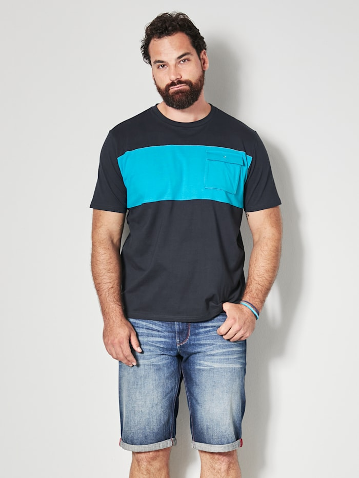 Men Plus T-Shirt aus reiner Baumwolle, Marineblau/Türkis