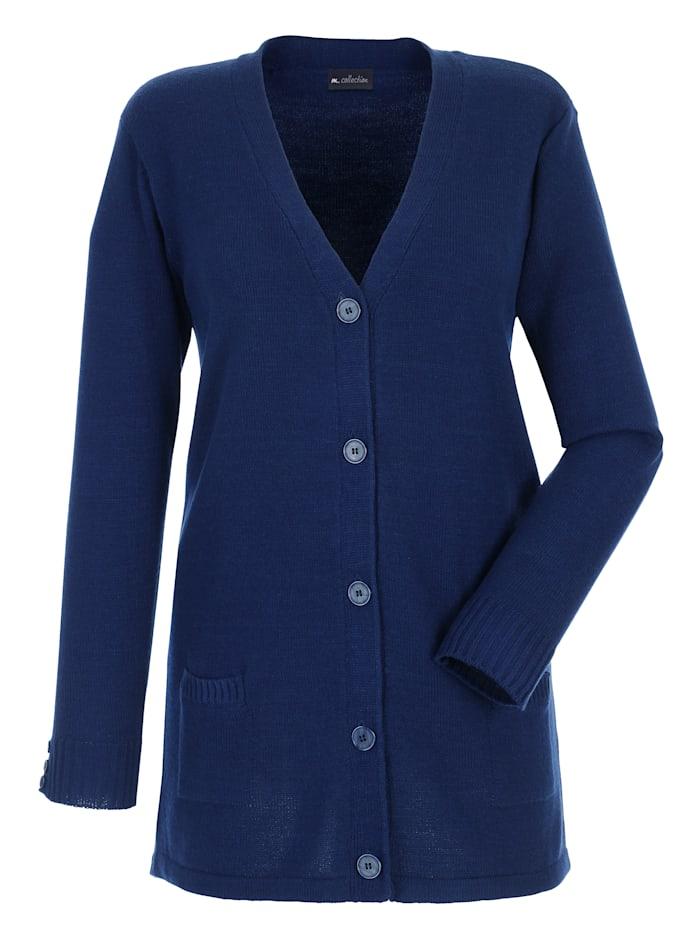 m. collection Strickjacke mit seitlichen Taschen, Marineblau