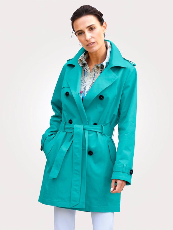 MONA Trenchcoat van katoenmateriaal, Turquoise