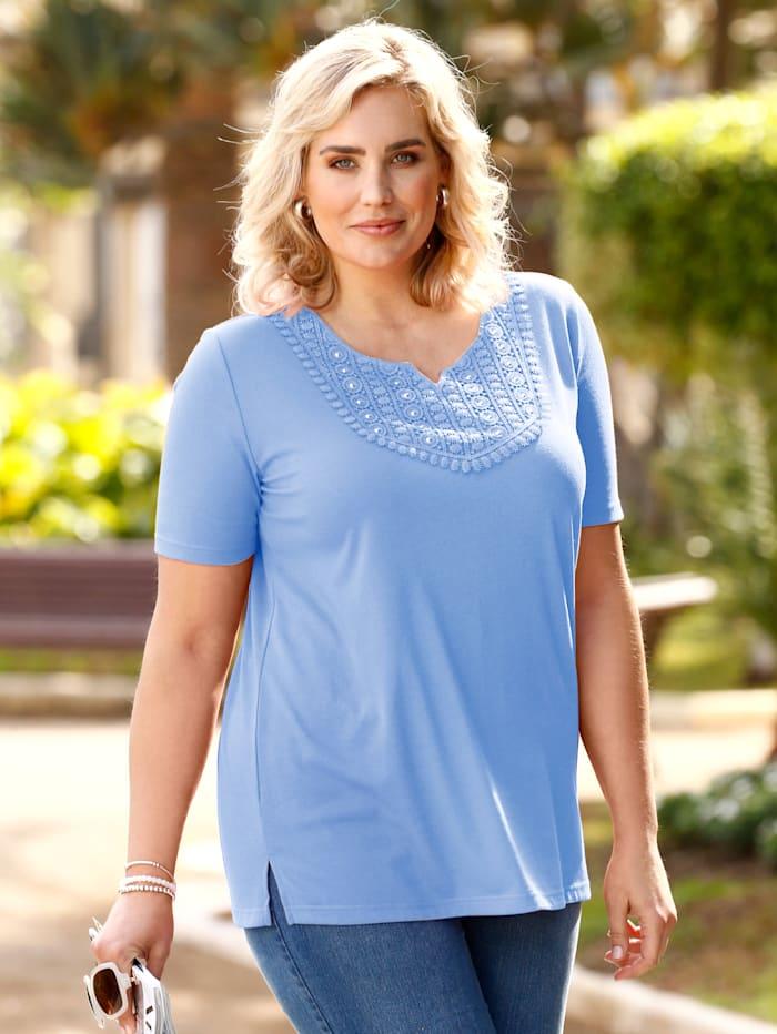 m. collection Shirt met kant en siersteentjes, Blauw