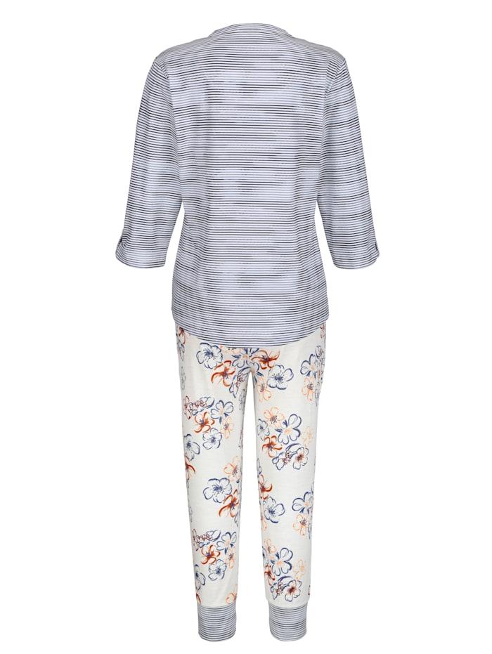 Pyjama avec revers boutonnable aux manches