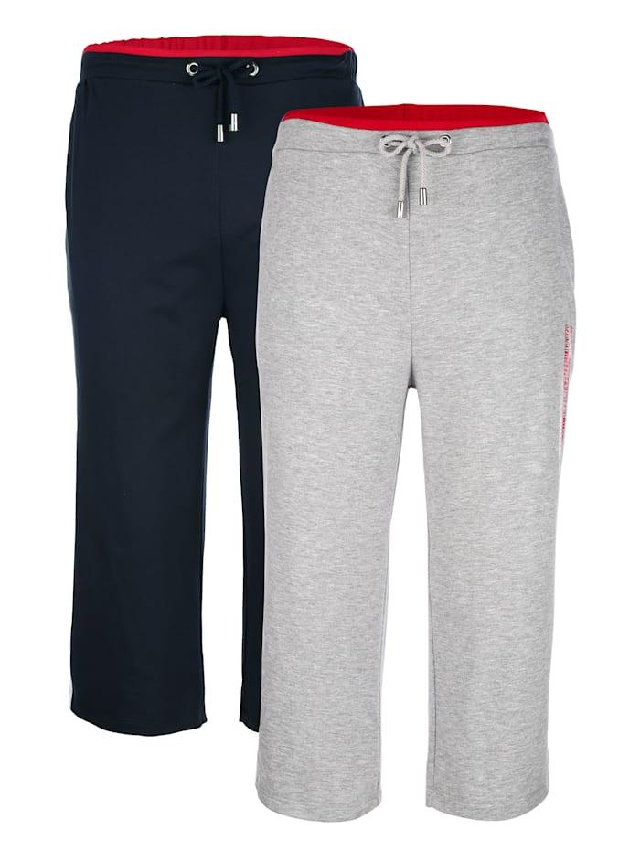 G Gregory Sportovní kalhoty s červenou kontrastní pasovkou, Šedá/Námořnická