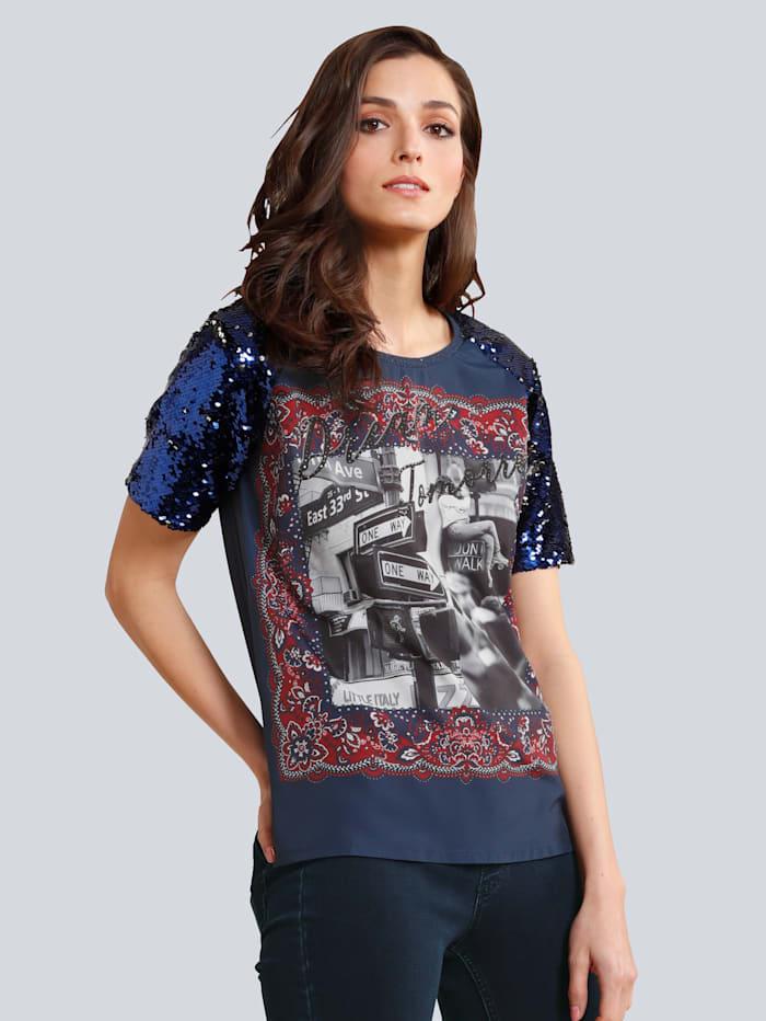 OUI Shirt mit Pailletten am Ärmel, Blau