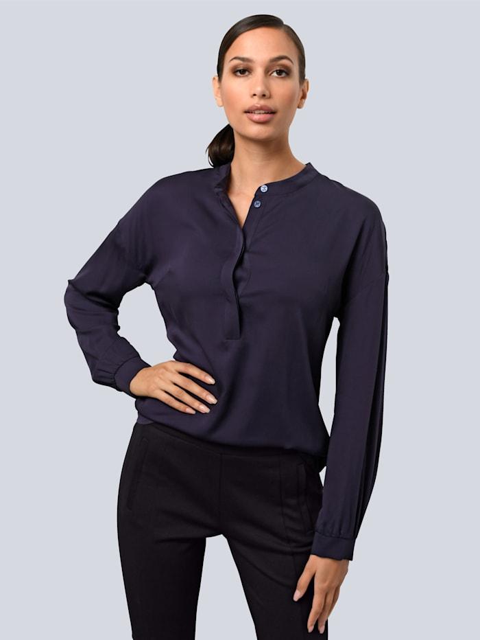 Alba Moda Bluse im modischen Oversized Look, Marineblau