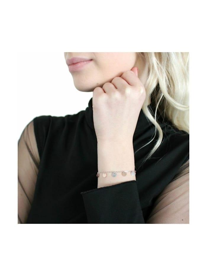 Armband für Damen, Silber 925, Münzen bicolor