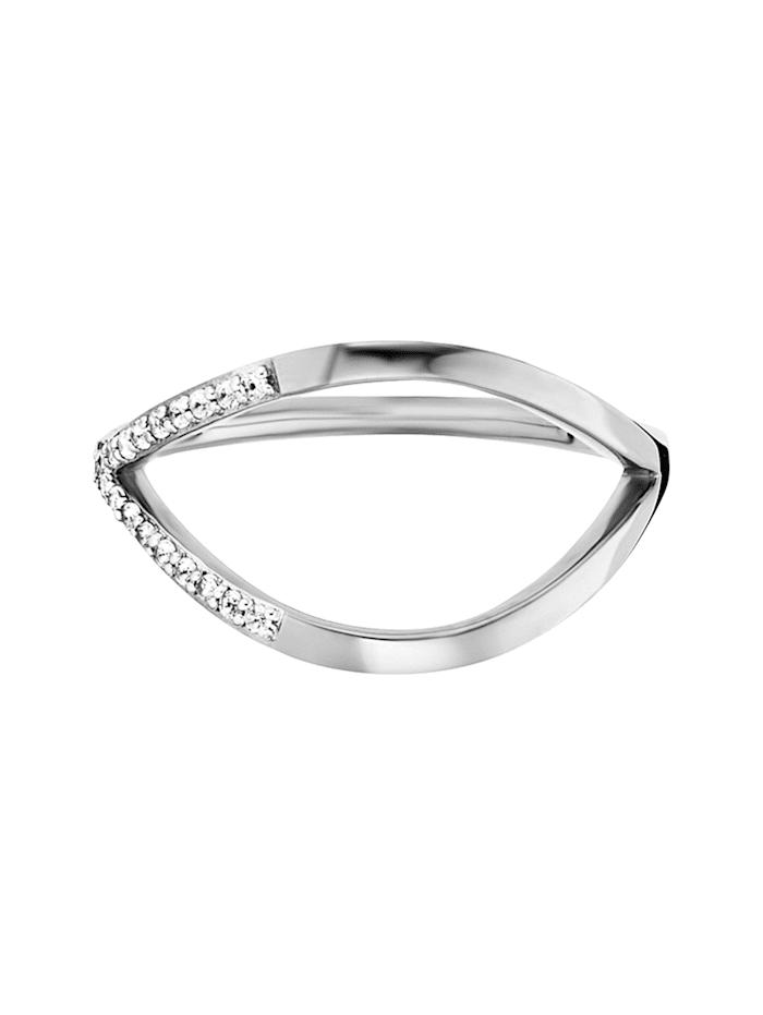 CAI Ring 925/- Sterling Silber Topas weiß Glänzend 0,064ct 925/- Sterling Silber, weiß