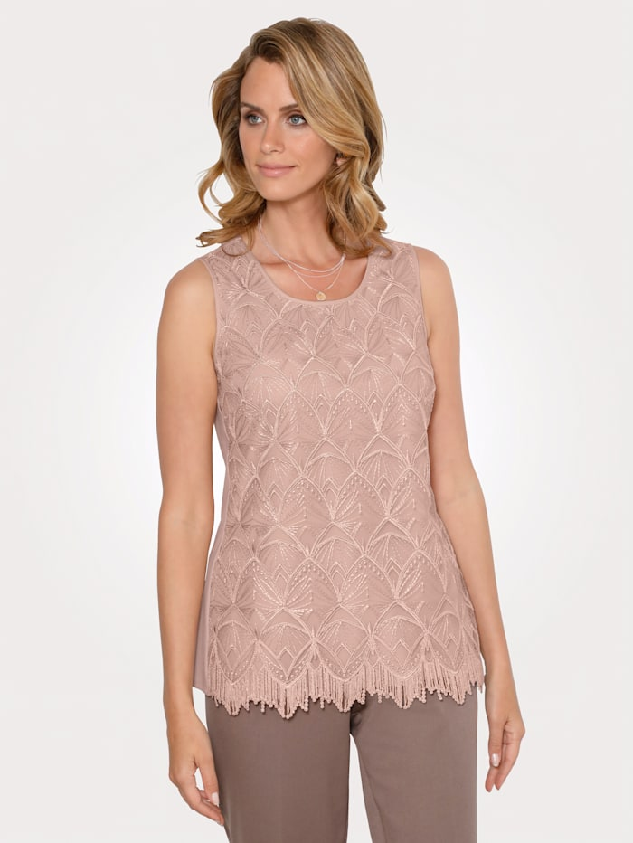 MONA Twinset with a blouse and top, Dark Rose