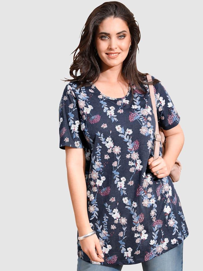 MIAMODA T-shirt long à imprimé floral devant et dos, Marine