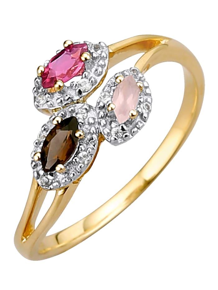 Amara Highlights Bague en quartz fumé, tourmaline et quartz rose, Multicolore