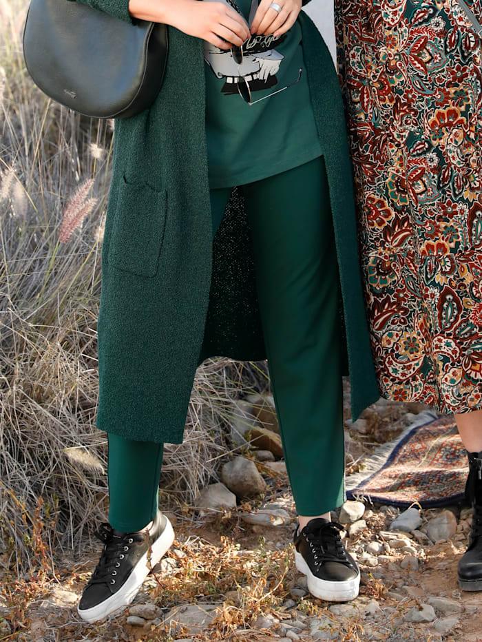 MIAMODA Hose mit dekorativem Glitzertape, Flaschengrün