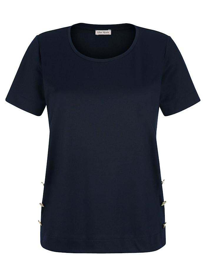 Alba Moda Shirt mit Zierknöpfen, Marineblau