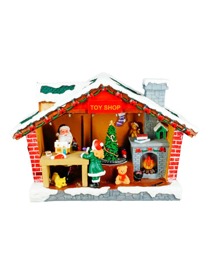 Weihnachtshaus mit Beleuchtung und Spieluhr, bunt