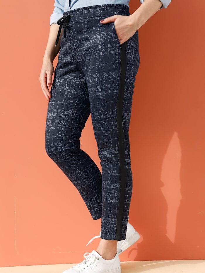 MIAMODA Pantalon en fil contrastant, Marine/Blanc