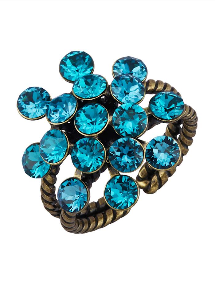 Konplott Dámský prsten s křišťály, Tyrkysová