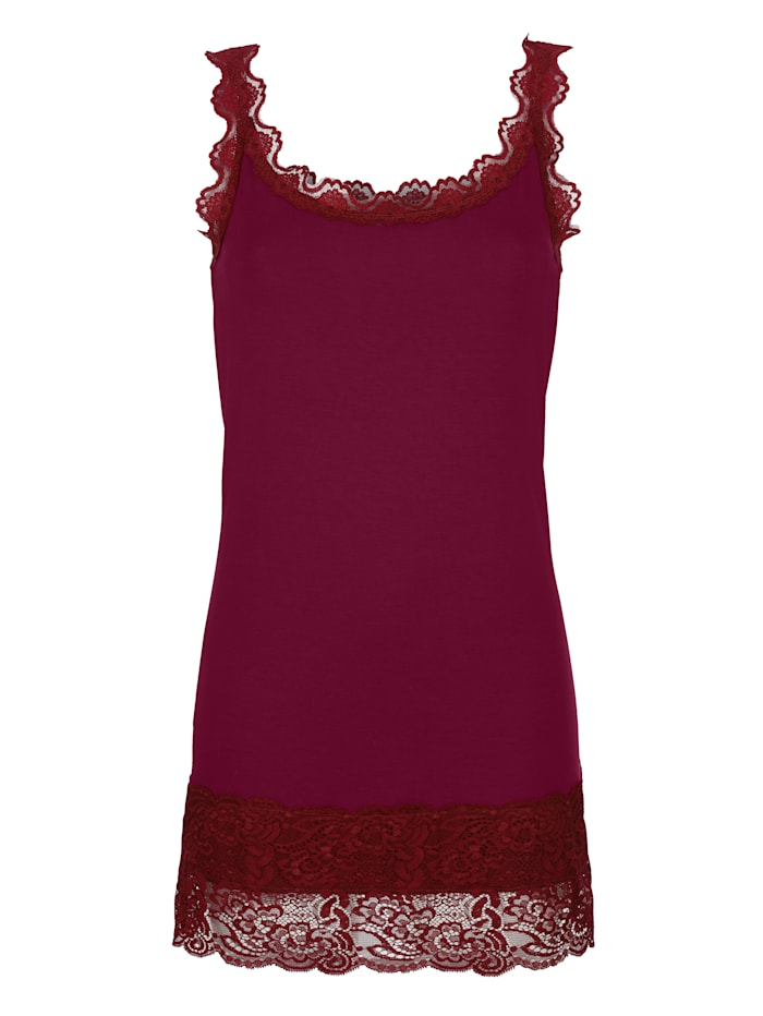 Dress In Linne med spets, Fuchsia