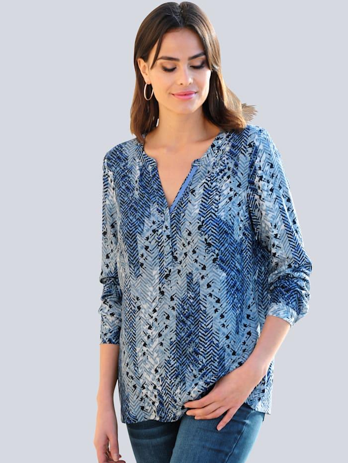 Alba Moda Bluse mit grafischem Dessin allover, Blau/Off-white