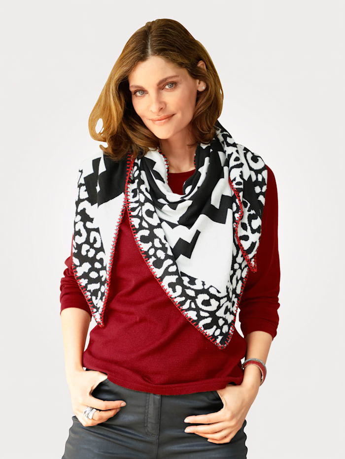 MONA Pullover mit Schal, Rot/Weiß/Schwarz