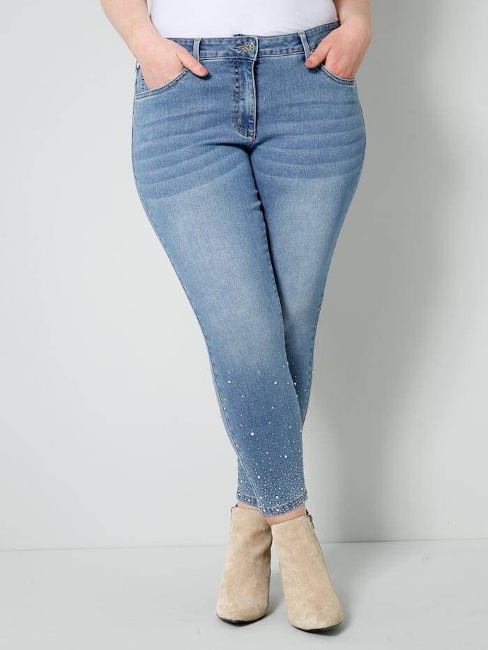 Sara Lindholm Jeans met split en strikjesapplicatie, Blue bleached