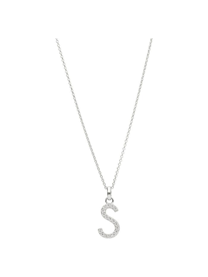 Smart Jewel Kette Buchstabe S mit Zirkonia Steine, Silber 925, Silber