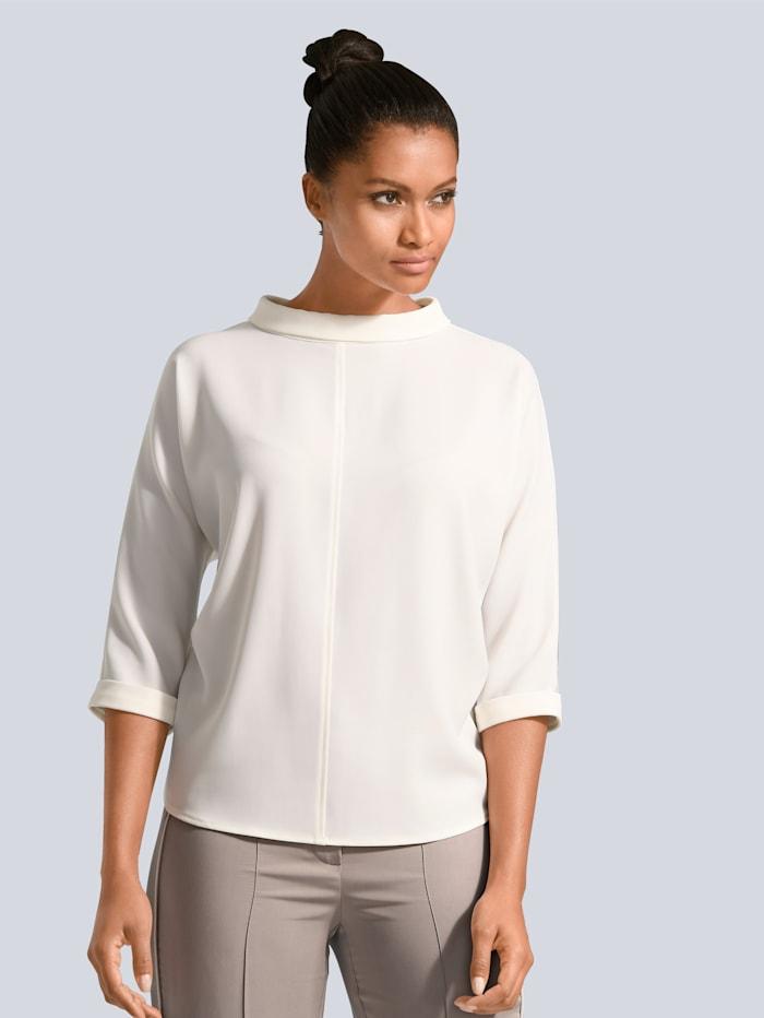 Alba Moda Bluse mit Kragen und kurzer Knopfleiste im Rücken, Off-white