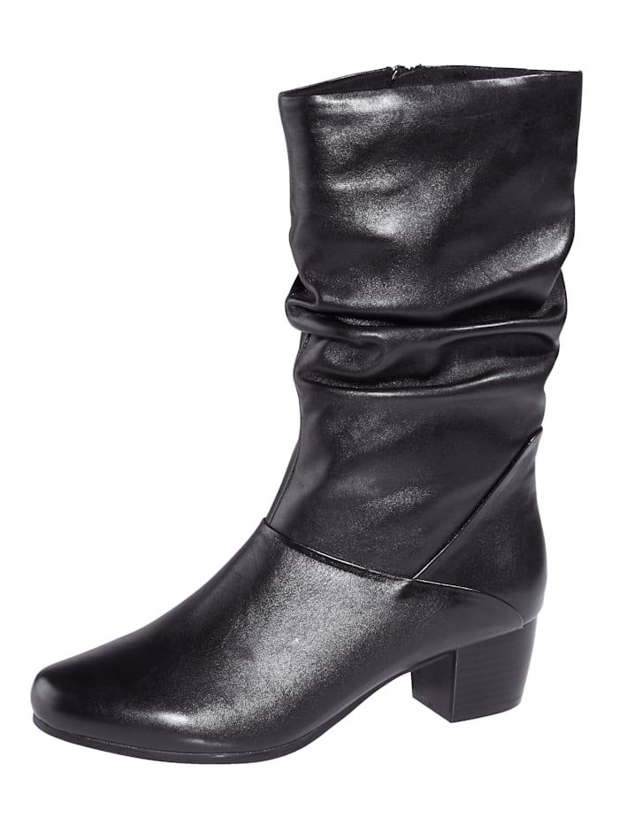 MONA Stiefelette aus hochwertigem Leder, Schwarz