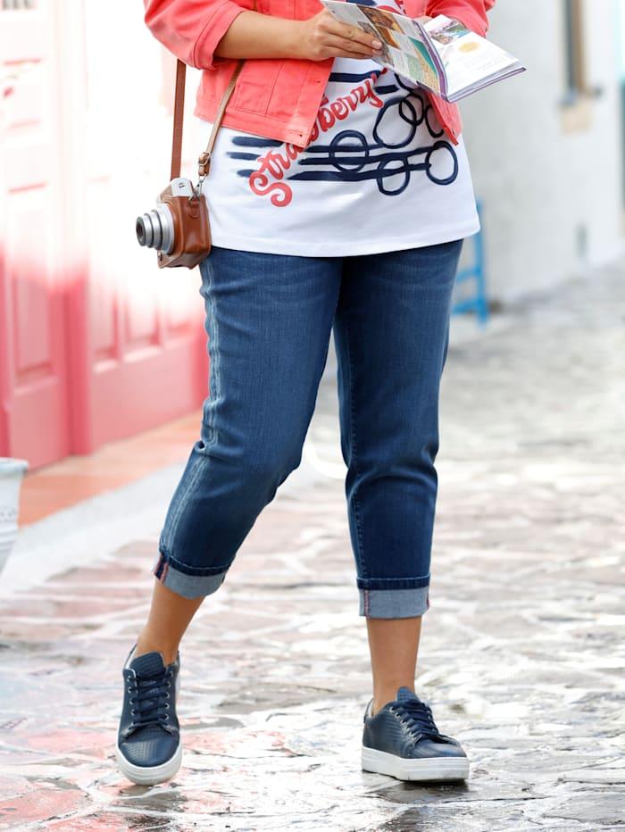 Janet & Joyce 7/8-jeans met gefixeerde omslag aan de zoom, Blue bleached