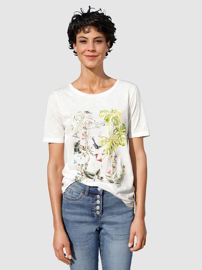 Dress In Shirt mit sommerlichem Druck, Weiß