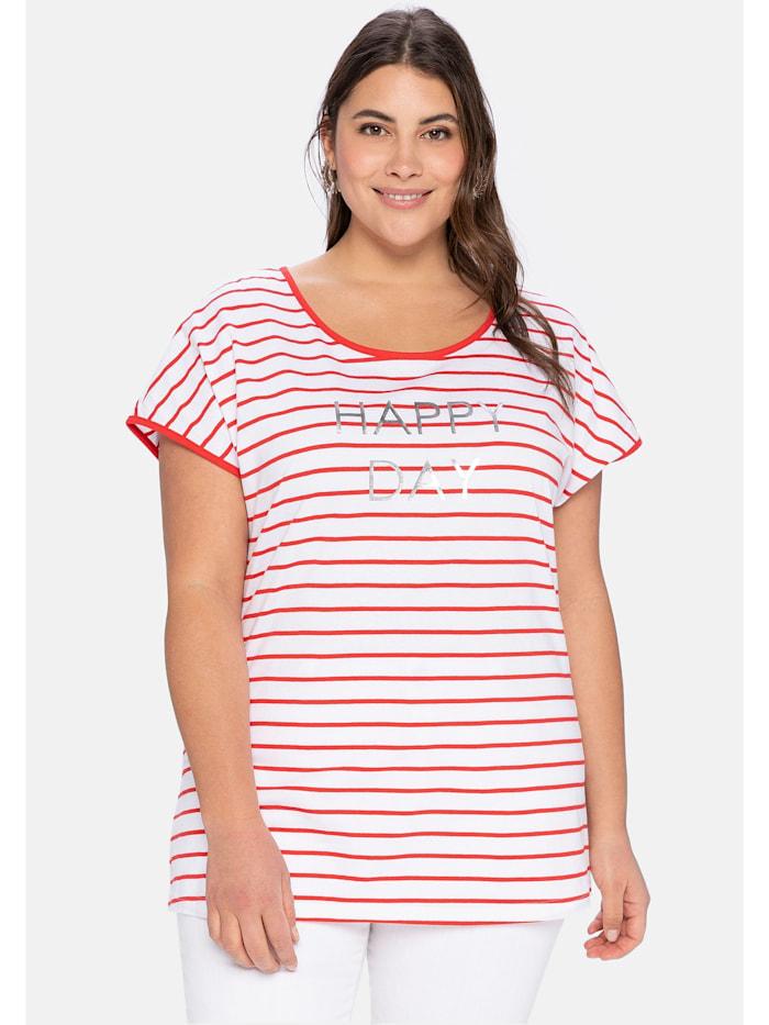 Sheego T-Shirt mit Ringeln und Statement-Foliendruck, karminrot-weiß