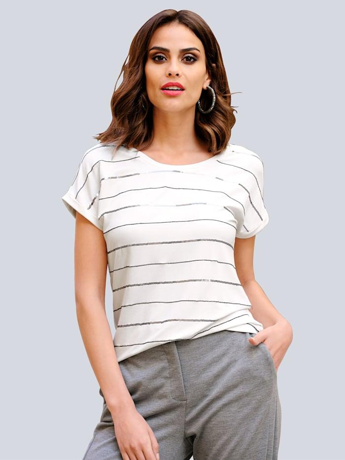 Alba Moda Shirt mit Paillettendekoration im Vorderteil, Off-white/Grau