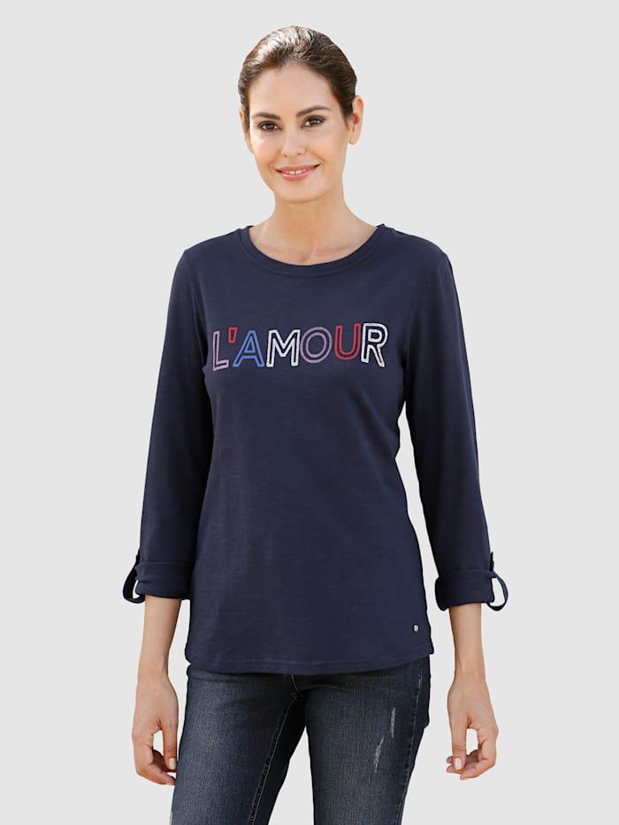 Laura Kent T-shirt à inscription contrastante, Marine