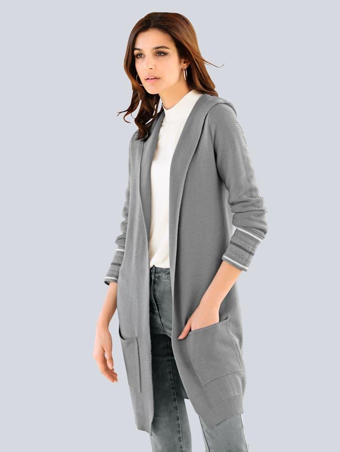 Alba Moda Vest in trendy lang model, Grijs/Offwhite/Zilverkleur
