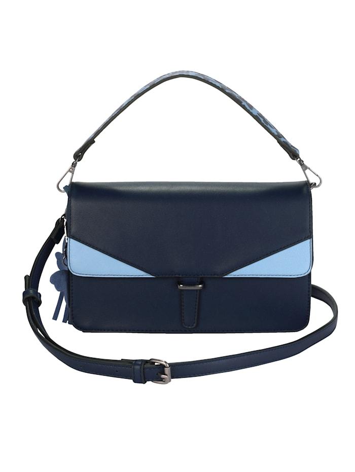 Turned Love Handväska med avtagbart fjärilshänge, blå