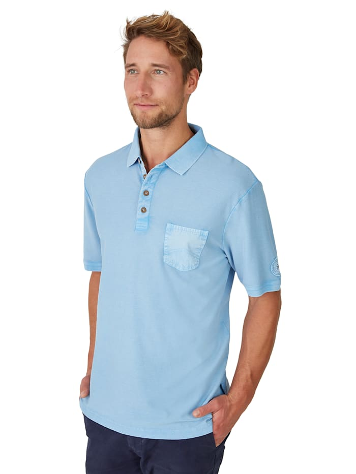 Hajo Washer-Poloshirt in Flammengarn, hellblau
